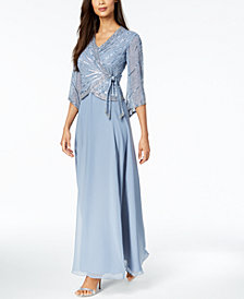 J Kara 3/4-Sleeve Beaded Wrap Gown