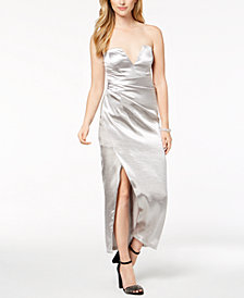 Bardot Strapless Metallic Maxi Dress