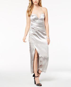 Bardot Strapless Metallic Maxi Dress