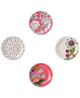 Coral Floral 4-Pc. Melamine Tidbit Plate Set