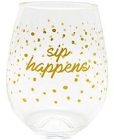 Vera Bradley Blush Gold Dots 2-Pc. Stemless Wine Glass Set