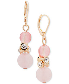 Anne Klein Gold-Tone Crystal & Colored Stone Drop Earrings