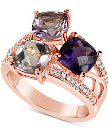Amethyst (4-1/2 ct. t.w.) & Diamond (1/6 ct. t.w.) Ring in 14k Rose Gold