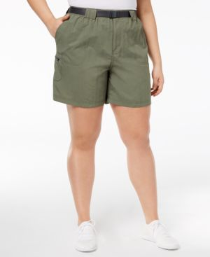 PLUS SIZE SANDY RIVER BELTED CARGO SHORTS