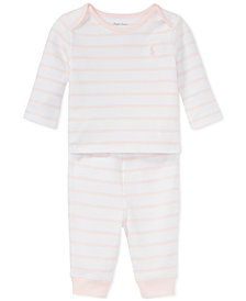Ralph Lauren Striped Cotton Top & Pants Set, Baby Girls