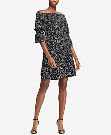 Lauren Ralph Lauren Petite Polka-Dot Crepe Dress