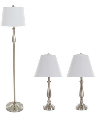 Lavish home set of 3 steel lamp set