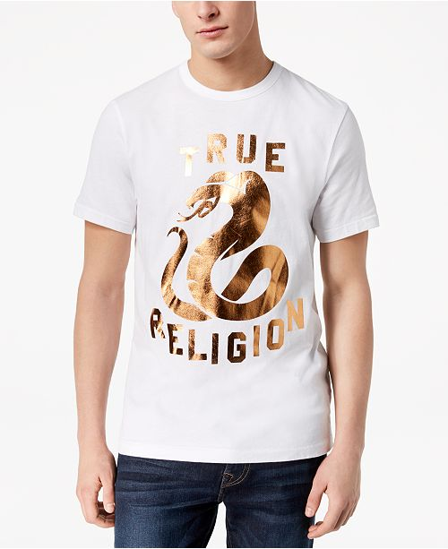 bd76c84f58 True Religion Men s Copper Snake Metallic Logo-Print T-Shirt ...