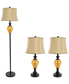 Set of 3 Amber Lamp Set