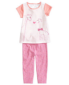 First Impressions Graphic-Print Tunic & Printed Leggings Separates, Baby Girls, Created for Macy's