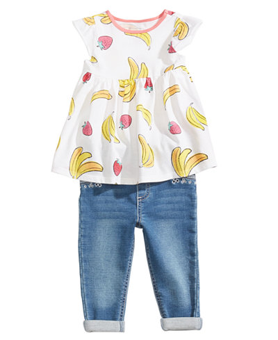First Impressions Fruit-Print Tunic & Jeans Separates, Baby Girls, Created for Macy's
