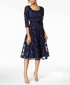 Alex Evenings Belted Sequined Midi Dress