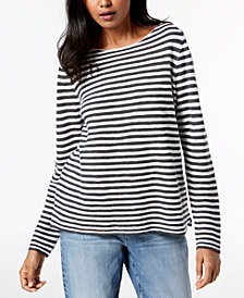 Eileen Fisher Organic Linen Striped Boat-Neck Sweater