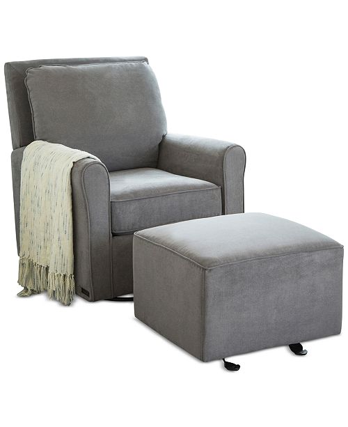 Abbyson Living Templen Gliding Chair & Ottoman Set, Quick Ship