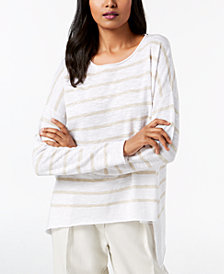 Eileen Fisher Organic Linen Blend Striped Sweater