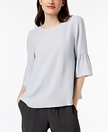 Eileen Fisher Silk Flutter-Sleeve Top, Regular & Petite
