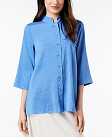 Eileen Fisher Silk Mandarin-Collar Tunic