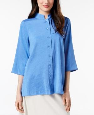 Eileen Fisher Silk Mandarin-Collar...