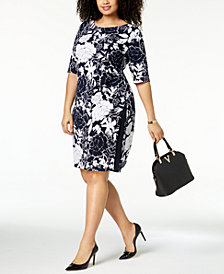 Connected Plus Size Printed Elbow-Length Sheath Dress