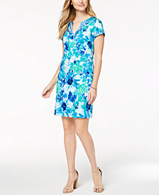 Pappagallo Floral Print Cap-Sleeve Shift Dress