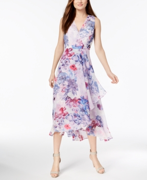 1930s Dresses | 30s Art Deco Dress Chiffon Faux-Wrap Dress Regular  Petite Sizes $82.99 AT vintagedancer.com