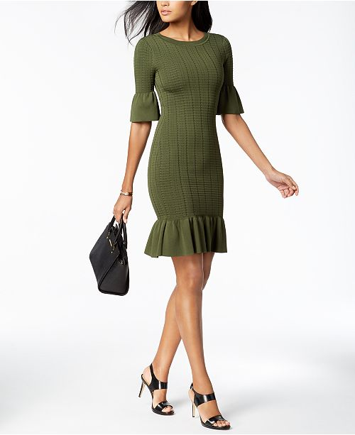 8fd96ade361 Michael Kors Textured Flared Sweater Dress   Reviews - Dresses ...