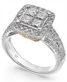 Diamond Square Cluster Engagement Ring (2-1/5 ct. t.w.) in 14k White Gold and 14k Yellow Gold