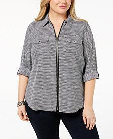 MICHAEL Michael Kors Plus Size Printed Zip-Front Shirt