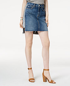 7 For All Mankind Short Skirt with Reverse Step Side Panel Denim Skirt