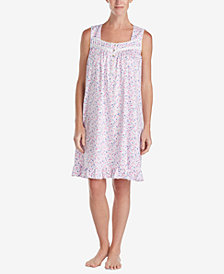 Eileen West Venise-Lace Cotton Knit Nightgown