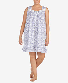 Eileen West Plus Size Rose-Print Woven Cotton Nightgown