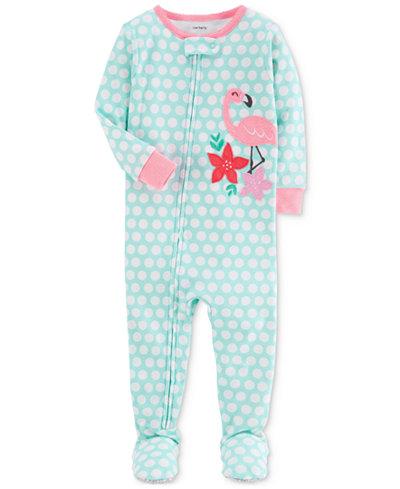 Carter's 1-Pc. Flamingo Footed Cotton Pajamas, Baby Girls