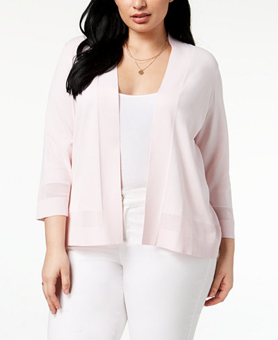 Charter Club Plus Size Openwork-Trim Cardigan, Created for Macy's