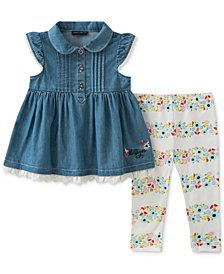 Tommy Hilfiger 2-Pc. Denim Tunic & Floral-Print Leggings Set, Baby Girls