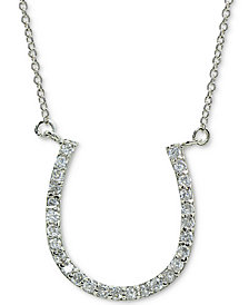 "Giani Bernini Cubic Zirconia Horseshoe Pendant Necklace in Sterling Silver, 16"" + 2"" extender, Created for Macy's"