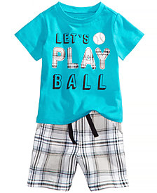 First Impressions Graphic-Print T-Shirt & Plaid-Print Shorts Separates, Baby Boys, Created for Macy's