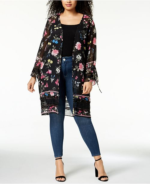 695f5a4298d45 NY Collection Plus Size Sheer Printed Kimono   Reviews - Jackets ...