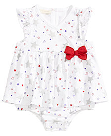 First Impressions Star-Print Cotton Skirted Romper, Baby Girls, Created for Macy's