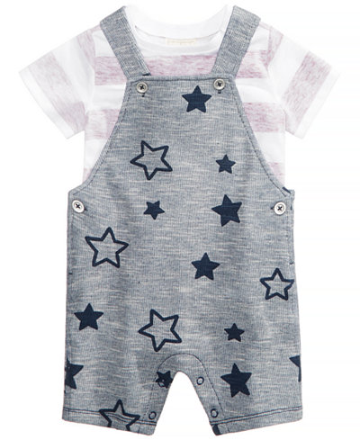 First Impressions 2-Pc. Striped T-Shirt & Star-Print Overall Set, Baby Boys, Created for Macy's
