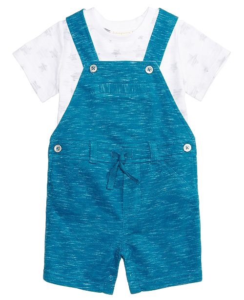 6313bf86d First Impressions 2-Pc. T-Shirt & Marled Overall Set, Baby Boys ...