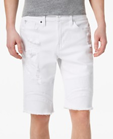 GUESS Men's Slim-Fit Pintuck Moto Shorts