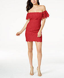GUESS Francine Off-The-Shoulder Lace Dress