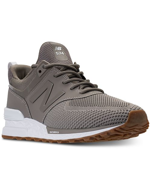 new style 09cf3 48eba New Balance Men's 574 Sport Knit Casual Sneakers from Finish ...