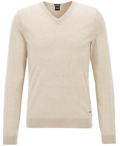 BOSS Men's Extra-Fine Virgin Wool V-Neck Sweater