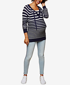 Motherhood Maternity Lace-Up Sweater