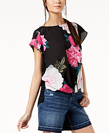 I.N.C. Floral-Print Knit Top, Created for Macy's