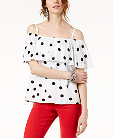 I.N.C. Dot-Print Off-The-Shoulder Top, Created for Macy's
