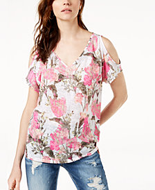 I.N.C. Embellished V-Neck Cold-Shoulder Top, Created for Macy's