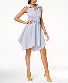 I.N.C. Sleeveless Handkerchief Shirtdress, Created for Macy's
