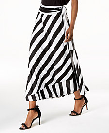 I.N.C. Petite Striped Wrap Maxi Skirt, Created for Macy's